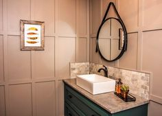 Restaurant Bathroom Makeover featuring paint colors Ghost Writer PPG1007-3 |Mecca Gold 214-7 | Juniper Berry 501-6 by PPG Voice of Color