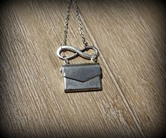 Infinity Love Letter Envelope Locket Necklace by janiecox on Etsy