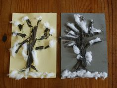 Winter tree craft - collect twigs for tree and branches and add cotton or puffy paint for snow on tree and ground