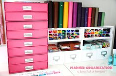 ABFOL Planner Organization 9 - Container Store paper drawers, pen organiser, collection of planners, planner supplies (eg: stamps, stickers, etc)