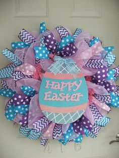 Happy Easter Easter Egg Deco Poly Mesh Wreath by TowerDoorDecor, $55.00
