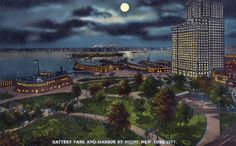 Battery Park and Harbor by Night, New York City