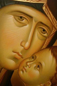 Byzantine Art, Byzantine Icons, Religious Icons, Religious Art, Face Icon, Russian Icons, Religious Paintings, Holy Mary, Madonna And Child