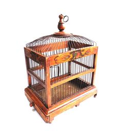 Bird Cage, Antique handmade primitive French Bird Cage, Antique French Home Decor, Wood and metal Birdcage.