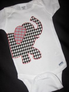 BAMA Applique Onesie Elephant Houndstooth Roll by sweetpea1234