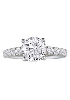 SuperJeweler Women's 1 1/2ct Diamond 14k White Gold Round Engagement Ring