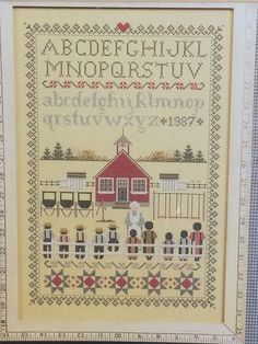 Schoolhouse Sampler - Cross Stitch Chart by Marilyn Leavitt-Imblum TOLD IN A Garden -  New and sealed by LousAtelier on Etsy