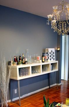 Ikea Bookcase Turned Bar or Coffee Bar! - bar crafted from an Ikea Lack Shelving Unit by turning it on its side and adding legs. Ikea Lack Shelves, Ikea Bookcase, Bookcase Bar, Lack Shelf, Mini Bars, Bar Interior, Interior Design, Prateleiras Lack Ikea, Sweet Home