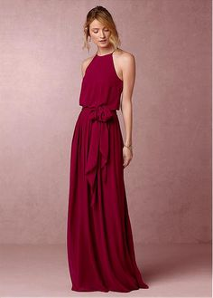 Romantic Chiffon Halter Neckline Full-length A-line Bridesmaid Dresses With Belt