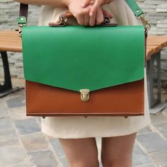 """Image of Handmade Genuine Leather Briefcase Messenger Bag 17"""" MacBook Pro Case - Brown with Green (m5)"""