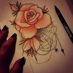 Tattoos are popular now more than ever. For some, it's a sort of memorial, while some consider their bodies as a blank canvas where… Rose Tattoos, Body Art Tattoos, Sleeve Tattoos, Flower Tattoos, Kunst Tattoos, Tattoo Drawings, Tattoo Art, Rose Drawing Tattoo, Rose Drawings