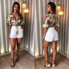Looks com shortinho, shorts e blusas и looks shorts branco. Short Outfits, Fall Outfits, Short Dresses, Summer Outfits, Casual Outfits, Cute Outfits, Casual Dresses, Summer Dresses, Cancun Outfits