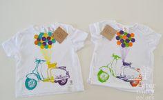 Camisetas infantiles estampadas a mano motivo vespa retro  http://marijoepintora.blogspot.com.es/