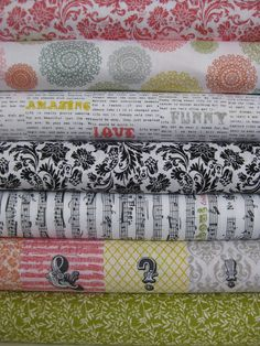 Fabricworm - Echo Park for Andover, Love Notes, Multi in Fat Quarters