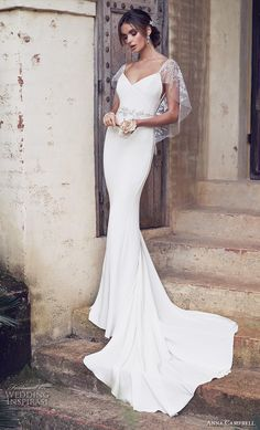 anna campbell 2019 bridal butterfly sleeves diamond neck simple embellished waist minimalist elegant fit and flare wedding dress backless scoop back chapel train (9) mv -- Anna Campbell 2019 Wedding Dresses | Wedding Inspirasi #wedding #weddings #bridal #weddingdress #bride ~