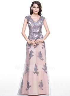 Trompete/Sereia Decote V Longos Tule Charmeuse Vestido de festa com Bordado Apliques de Renda Lantejoulas Curvado (017056124)