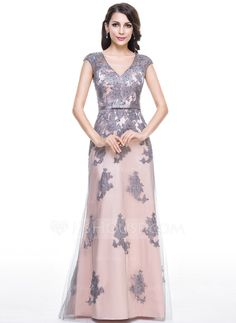 Trumpet/Mermaid V-neck Floor-Length Tulle Charmeuse Evening Dress With Beading Appliques Lace Sequins Bow(s) (017056124)