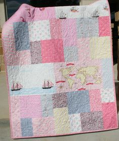 Nautical Girl Quilt Baby Blanket Toddler by SunnysideDesigns2, $159.00