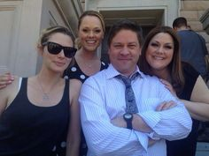 The amazing cast of Drop Dead Diva. I love that Lex Medlin (Owen French) tweets a lot of pictures of the cast and all ❤️ Here's... April Bawlby (Stacy Barrett), Kate Levering (Kim Kaswell), Lex Medlin (Owen French), and Brooke Elliot (the best JANE Bingum)