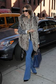 Olivia Palermo - fur and bell bottom jeans