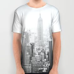 The Empire State Building (B&W) All Over Print Shirts