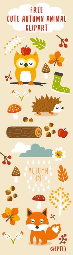 Free Cute Autumn Animal Clip Art and Planner Stickers! - Free Pretty Things For You