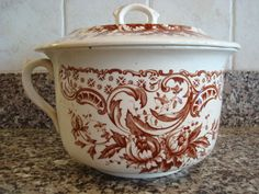 Old white ironstone chamber pot with lid and beautiful brown transferware design- beautiful, solid, great condition by HeathersCollectibles on Etsy