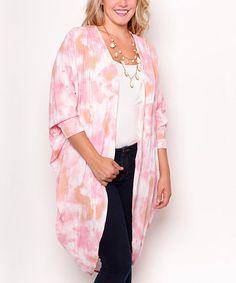 Look what I found on #zulily! Pink & White Tie-Dye Cocoon Cardigan - Plus #zulilyfinds