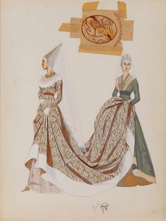 PAIR OF MARY GRANT COSTUME SKETCHES FOR KATHRYN GRAYSON FROM THE VAGABOND KING
