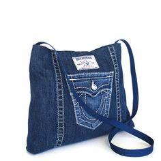 Bandolera reciclada, jean azul lado, chicas del dril de algodón bolso, jean cruz cuerpo monedero, denim vegano Cruz sobre monedero, monedero de la mezclilla
