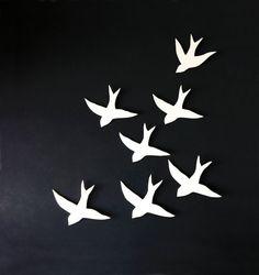 Flock  Wall art Swallows Porcelain bird wall by PrinceDesignUK, $140.00