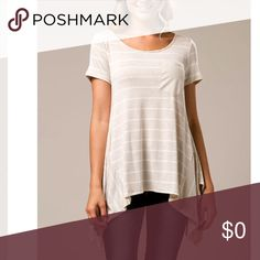 Oatmeal Handkerchief Stripe Top Pocket Detail Handkerchief T-shirt. Oatmeal tone with white stripes. Incredibly comfortable. Adorable! Also available in Navy Stripped. Tops Tees - Short Sleeve