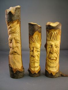 Tree Noggins carved in basswood limbs ~ www.woodbeecarver.com