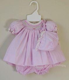 14f88f67b Petit Ami Pink Gingham Floral Smocked Bishop Dress Baby Girls Preemie