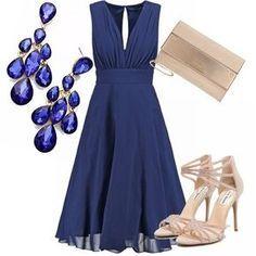 Vestito elegante da cerimonia blu elettrico con scollo a V e pietre ... 76275f50b72