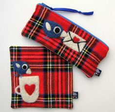 Set of zippered pouch pencase and coaster red by HandmadebyMia, $26.00