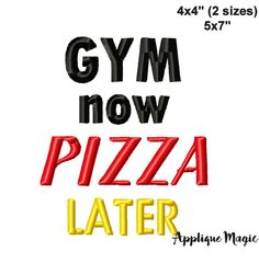 Quote for Face Masks Gym now Pizza Later Machine Embroidery Pattern 4x4 5x7 INSTANT DOWNLOAD by AppliqueMagic on Etsy Machine Applique Designs, Hand Applique, Machine Embroidery Patterns, Funny Gym Quotes, Different Types Of Fabric, Gym Humor, Digital Pattern, Face Masks, 4x4