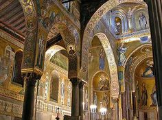 I have an interest in the eclectic styles of Palermo, Sicily.  La Cappella Palatina via http://www.paradoxplace.com/Perspectives/Sicily%20&%20S%20Italy/Montages/Sicily/Palermo/La_Capella_Palatina.htm