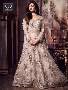 Get Sonal Chauhan Grey Net Designer Anarkali Salwar Suit latest designer party wear salwar suits, wedding wear anarkali dress for women at VJV Fashions. Indian Reception Dress, Bride Reception Dresses, Bridal Dresses, Wedding Reception, Prom Dresses, Pakistani Dresses, Indian Dresses, Indian Outfits, Indian Clothes