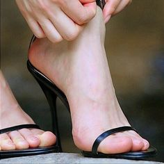 her heels are strappy hot! Beautiful High Heels, Gorgeous Feet, Feet Soles, Women's Feet, Sexy Legs And Heels, Black High Heels, Talons Sexy, Pantyhose Heels, Sexy Toes