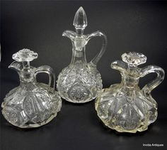 Lot of 3 EAPG US Glass Co Clear Glass Cruets with Stoppers
