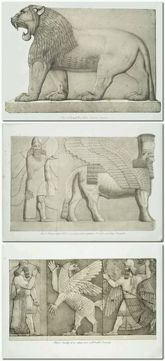 Monuments of Nineveh; including bas-reliefs from the palace of Sennacherib and bronzes from the ruins of Nimroud. From drawings made on the spot, during a second expedition to Assyria, by Austen Henry Layard, M. Ancient Aliens, Ancient Art, Ancient History, Art History, Ancient Mesopotamia, Ancient Civilizations, Naher Osten, Fu Dog, Cradle Of Civilization