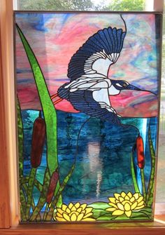 Night Heron Stained Glass Window Panel EBSQ Artist