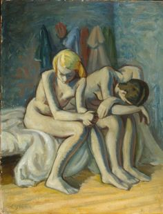 """John Lyman b. Biddeford, Maine """"Westmount in Winter"""" """"The Arab Philosopher"""" """"Card Players"""" """"Young Woman Combing her Hair"""" """"Trouble"""" Matisse, Biddeford Maine, Couple Art, Couples, Painting, Landscape Planner, Henri Matisse, Couple, Paint"""