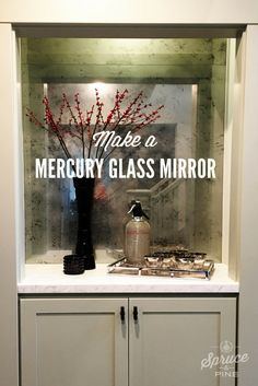 WHO DOESN'T LOVE THE LOOK MERCURY GLASS? I'LL SHOW YOU HOW TO DO IT QUICKLY AND INEXPENSIVELY.  I have to start by saying that I didn't intend for this to be a DIY project. But when the estimate came in at $1600 for this piece of glass, I decided to take it on.