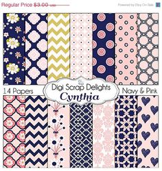 40% Off Pink and Navy Scrapbook Paper: Cynthia Digital Scrapbook Papers, Instant Download, Chevron, Quatrefoil on Etsy, $2.23