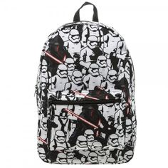 Star Wars 7 Trooper Kylo Ren AOP Full Size Back Pack Book Bag IN ADDITION TO LARGE ZIPPERED MAIN SECTION THERE IS A SMALLER ZIPPERED SECTION ON THE FRONT. ADJUSTABLE PADDED STRAPS FOR COMFORT FIT Bag