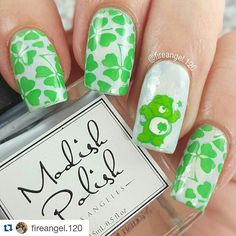 #Repost @fireangel.120  Here is my entry for @fire.dazed.challenge #firedazedchallenge favorite cartoon character! I used to love care Bears when I was little I would watch the movie for hours! I thought goodluck bear wousd be perfect specialy since it is so close to St Patricks Day  Base coat @modishpolish in Class is in Session smooshed with Broadway nails Ascending Celine Stamping was done using @dashicabeautyshop Infinity Nails 66 and green stamping polish along with Hk plate 04…