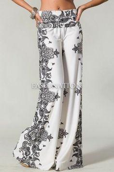 Womens New Hot Fashion Trend Popular Wide Leg PALAZZO Pants Ivory & Black  S~M~L