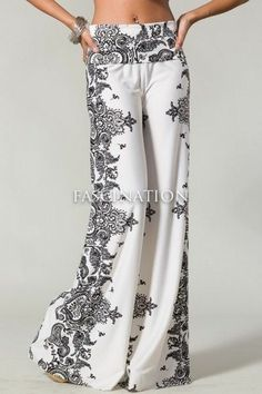 Womens New Hot Fashion Trend Popular Wide Leg PALAZZO Pants Ivory & Black  S~M~L